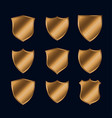 set shiny gold police shield icons vector image vector image