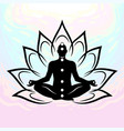 silhouette meditating man vector image