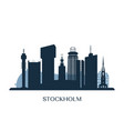 stockholm skyline monochrome silhouette vector image vector image