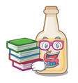 student with book bottle apple cider above cartoon vector image vector image