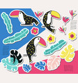 toucan floral sticker collection vector image vector image