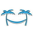 tree palm beach with hammock vector image vector image