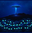 ufo with ray light fly in night sky and group vector image