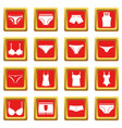 underwear items icons set red vector image vector image