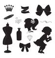 Vintage elements set silhouettes vector image
