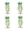white radish character cartoon set vector image vector image