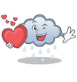 with heart rain cloud character cartoon vector image