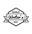 World Writers day greeting emblem vector image vector image