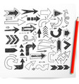 doodle sketch arrows and red pencil on white vector image