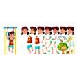 asian girl kindergarten kid animation vector image vector image
