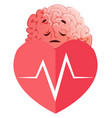 brain has heart issues on white background vector image
