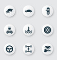 car icons set with repair signal temperature and vector image
