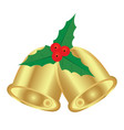 christmas bells and holly vector image vector image