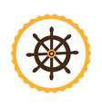 circular frame with boat helm vector image