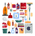 cleaning service set house cleaning tools vector image