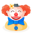 colorful cartoon happy redhead clown character vector image vector image