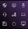 computer outline icons set collection of vector image vector image