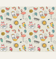 cute doodle summer collection pattern seamless vector image vector image