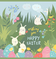 Cute easter bunnies and easter egg happy holidays