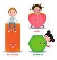 Cute little cartoon kids with basic shapes heart vector image vector image