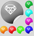 Diamond Icon sign Set of eight multi colored round vector image vector image