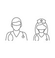 doctor and nurse in mask linear vector image