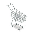empty supermarket trolley isometric icon vector image vector image