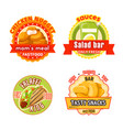 fast food restaurant badge with snack and salad vector image vector image