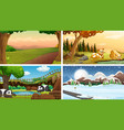four different scenes nature vector image vector image