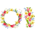 Frame and seamless border with spring flowers vector image vector image
