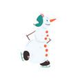 funny snowman character skating christmas and new vector image