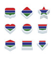 gambia flags icons and button set nine styles vector image vector image