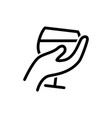 glas of wine in hand icon vector image vector image