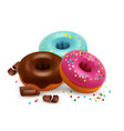 Glazed donuts with colorful bonbons and chocolate