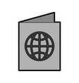 grey passport cartoon vector image vector image