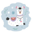 hand drawn cartoon llama cute alpaca vector image