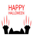 happy halloween card cartoon black cat paw print vector image vector image