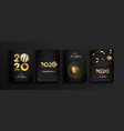 happy new year 2020 gold 3d elegant card set vector image