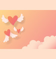 heart shaped paper cutting is flying vector image