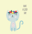 lettering spring card with cute cat and slogan vector image