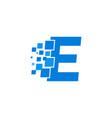 logo letter e blue blocks cubes vector image
