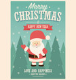 merry christmas card with santa claus on winter vector image vector image