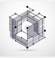 modern abstract cubic lattice lines black and vector image