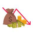 money loss economic crisis or bankruptcy bag vector image