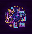 music sound neon concept vector image vector image