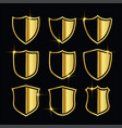 nice golden security symbols or shield icons set vector image vector image