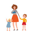 parenting problem big family tired parents vector image vector image