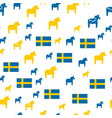 seamless pattern with swedish flag with dala vector image