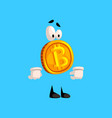 serious bitcoin character funny crypto currency vector image vector image