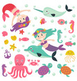 set isolated mermaid with marine animals vector image vector image